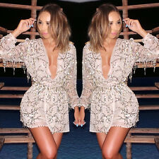 2015 Sexy Women Ladies Cocktail Dress V Neck Long Party Evening Short Mini Dress