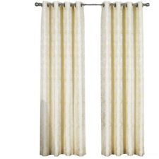 """Coffee Claudia Window Curtains Set (2 Panels 60x84""""+18"""" Attached Valance each)"""