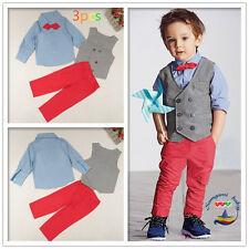 3PC NEW Baby Boys Gentleman double-breasted waistcoat + shirt + pants Sets