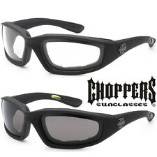 2 PAIR PACK Choppers Sunglasses Padded Wind Resistant Motorcycle Riding Glasses