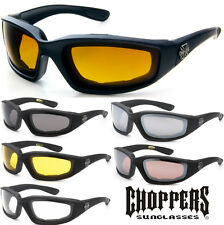 3 PAIR COMBO CHOPPERS Padded Wind Resistant Sunglasses Motorcycle Riding Glasses