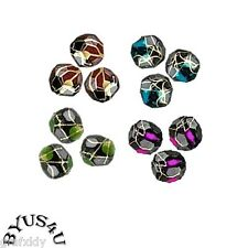 ACRYLIC SPACER BEADS ROUND FACETED 8mm BLACK GOLD SPECKLED 100pcs