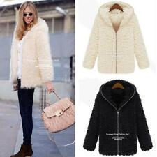 Winter Womens Fluffy Shaggy Coat Faux Fur Zipper Outerwear Thick Hoodie Black LS