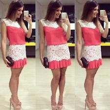 Women Mini Dress Crochet Lace Pleated Hem Side Zipper Crew Neck Sleeveless Dress