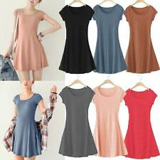 Korean Womens Girl Mini Dress Short Sleeve Candy Color One-piece Slim Mini Dress