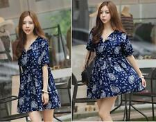 Womens Ladies Mini Dress V-Neck Short Sleeves Floral Print Vintage Casual Dress