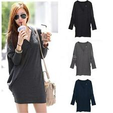 NEW Korean Women T Shirt Batwing Sleeve V-neck Loose Button Casual Tops Blouses
