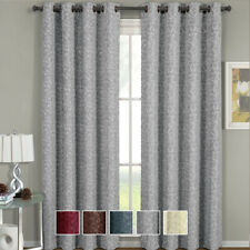 Fiorela Woven Jacquard Grommet-Top Window Curtain Panel