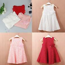 NEW Baby Girl Princess Skirt Dress Floral Sleeveless Lace Party Dress Size 2-7Y