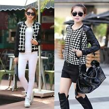 Womens Short Jacket PU Leather Thin Coat Blazer Outerwear Houndstooth Pattern LS