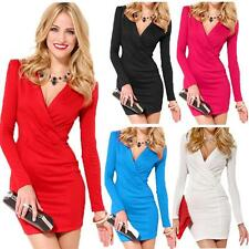 NEW Sexy Women's Bodycon Dress Deep V-Neck Long Sleeve One-piece Mini Dress LS