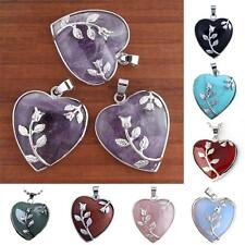 Chic Silver Plated Gemstone Heart Shape Stone Pendant Jewelry For Necklace Chain