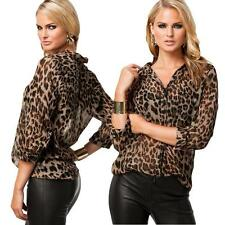 NEW Women Chiffon Shirt Leopard Print Semi-sheer Blouse Long Sleeve Loose Top LS