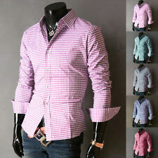 Fashion Mens Grid Shirt Stylish Casual Shirt Slim Formal Dress Shirts Fit Tops