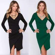 Elegant Women Dress Deep V Neck Pleats Split Irregular Hem Slim OL Pencil Dress