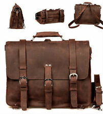 Men Genuine Leather Cowhide Attache Briefcase Tote Duffle Gym Travel Luggage Bag