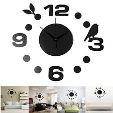 Fashionabl DIY Large Wall Clock Home Office Room Decor 3D Mirror Surface Sticker