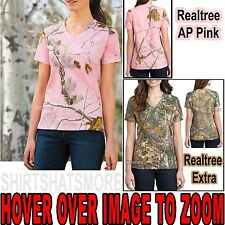 Russell Ladies Cotton Camo V-Neck T-Shirt Womens Tee XS, S, M, L, XL, 2X,3X NEW!