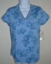 ALLYSON WHITMORE Petite Blue Scroll T Shirt Top Short Sleeve PS PM