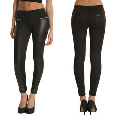 Sexy Women High Waisted Faux Leather Stretch Skinny Pants Slim Leggings Trousers