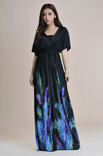 Batwing Sleeve V-Neck Black Maxi with Purple Feather Summer Dress #915B_PR