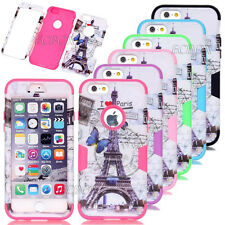 Rugged Eiffel Tower Pattern Skin Shockproof Combo Case Cover For iPhone 5C 6 6S