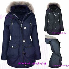 NEW SCHOOL  GIRLS PARKA JACKET COAT FUR HOODED CLOTHING AGE 7 8 9 10 11 12 13 P