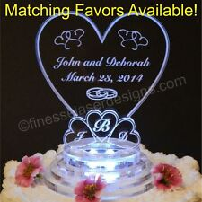 LED Monogram Heart Shaped Lighted Wedding Cake Topper Acrylic Custom Engraved