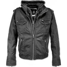 Brandit Black Rock Mens Biker Jacket Long Sleeve Hooded Parka Pu Leather Coat