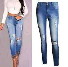 Sexy Womens Plus Size Low Waist Wash Hole Stretch Leggings Jeans Trousers Pants