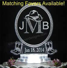 Western Monogram Oval Lighted Wedding Cake Topper Acrylic Top Custom Engraved