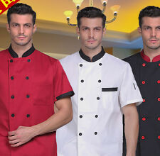 S-XXXXL Men Short Sleeve Chef Uniform Chef Jacket/Coat Cooker Work Clothing
