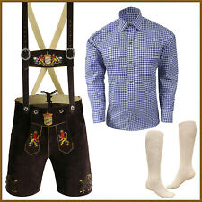 Authentic German Bavarian Oktoberfest Short Lederhosen Shirt Socks Package GP992