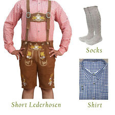 Authentic German Bavarian Oktoberfest Short Lederhosen Shirt Socks Package GP843