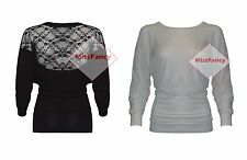 Womens Baggy Jumper Lace Batwing Sleeve Sweater Ladies Blouse Top