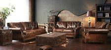 A120  VINTAGE sofa, antique leather lounge, couch retro old