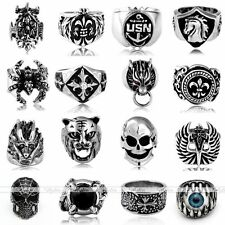 Gothic Punk Rock Mens Metal Cross Skull Biker Band Finger Ring Jewelry Cool Gift