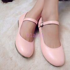 Womens Girls Flat Oxford Leather Sweet Candy Mary Janes Loafers Shoes Plus Size