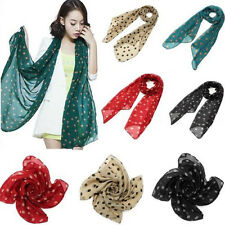 Chic Korea Chiffon Women Lady Polka Dot Print Long Scarf Shawl Wraps Pashmina CA