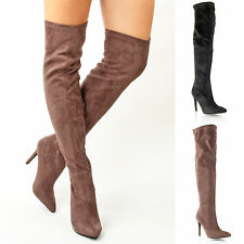 Womens ladies winter smart stiletto high heel over knee thigh high boots size