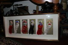 Superb Chinese Korean Tribal Warrior Face Masks In Shadow Box-Large-Hand Painted