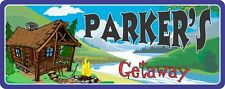 Cabin Getaway Personalized Sign with River, Rustic Cabin & Campfire C1258