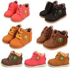 Baby Girls Boys Kid Martin Snow Boots Children Cotton Lace Up Leather Warm Shoes