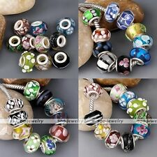 10pc Murano Lampwork Glass 925 Silver European Bead Fit Charm Bracelet Jewellery