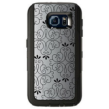CUSTOM OtterBox Defender Case for Galaxy S5 S6 S7 Black White Fade Black Floral