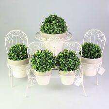 Metal Pot Stand w/ Bushwood Ball Home Garden Decoration Chair Bench Round Design