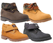"Timberland Men Original 6"" Icon Basic Roll Top Boot Leather Wheat Black Brown"