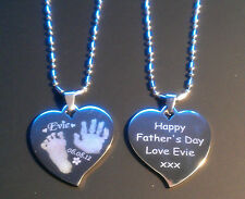 Handprint or Footprint Engraved Charm Heart Necklace fingerprint jewellery