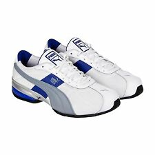 Puma Mens Cell Turin Mesh White Blue Leather & Textile Athletic Running Shoes