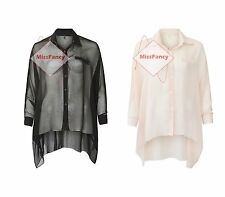 Womens Baggy Shirt See Through Chiffon Batwing Top Plain Loose Blouse